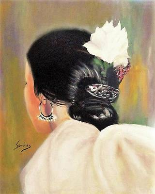 Untitled Dancer With White Flower Art Print by Manuel Sanchez