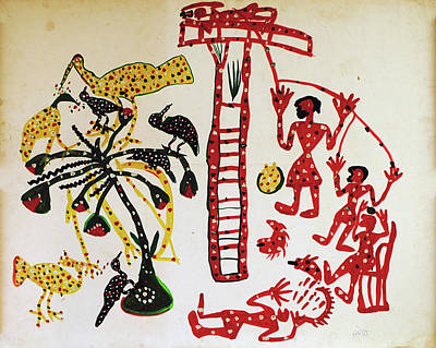 Indian Tribal Art Painting - Untitled Early Eighties  by Ladoo Bai