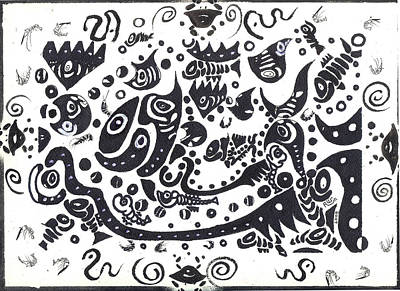 Tribal Art Painting - Untitled Fish Piece by Robert Wolverton Jr