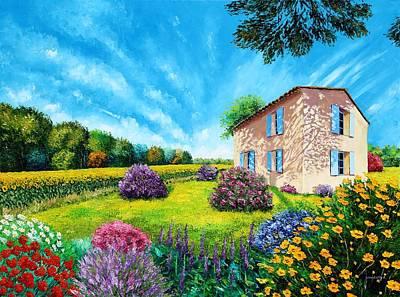 French Flowered Garden Art Print by Jean Marc Janiaczyk