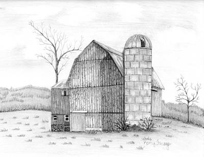 Old Barn Drawing - Untitled by Kerry Facey