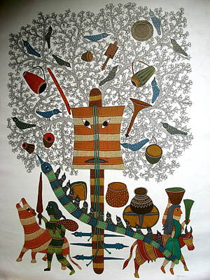 Gond Painting - Untitled by Rajendra Shyam