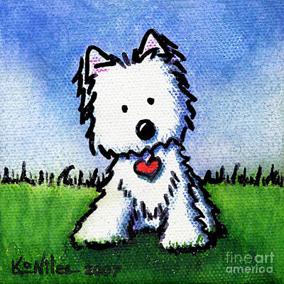 Kiniart Painting - Untitled Westie by Kim Niles