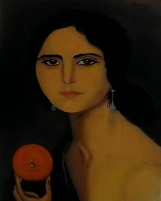 Untitled Woman With Orange Art Print by Manuel Sanchez