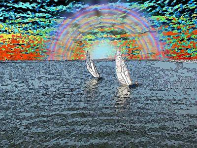 Colorful Abstract Digital Art - Unto The Sunset We Sail My Love by Tim Allen