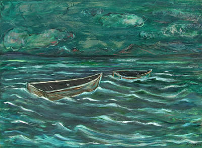 Painting - Untold Story Of Two Boats by Katt Yanda
