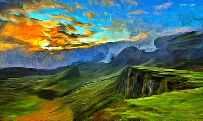 Ravine Painting - Untouched Mountains - Pa by Leonardo Digenio