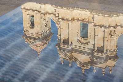 Photograph - Unusual View - Noto Cathedral Saint Nicholas Of Myra Reflected by Georgia Mizuleva
