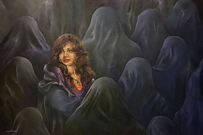 Oppression Drawing - Unveil Your Beauty by Kefah Shbeeb