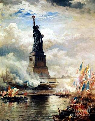 July 4 Mixed Media - Unveiling Of The Statue Of Liberty by Frederick Holiday