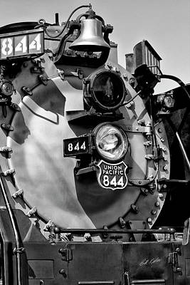 Photograph - Up 844 Bell And Headlights - Black-and-white by Bill Kesler