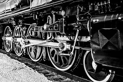 Photograph - Up 844 - Meet The Drivers - Cropped - Black-and-white by Bill Kesler