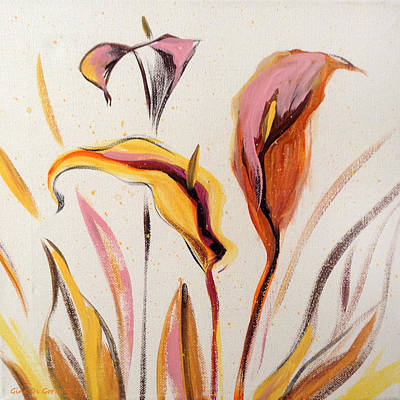 Painting - Up - Abstract Flower Painting by Gina De Gorna
