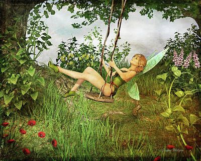 Digital Art - Up And Away - Vintage Fairy On A Swing by Jayne Wilson