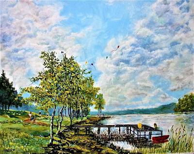Kite Fishing Painting - Up Around The Bend  by Michael Dillon