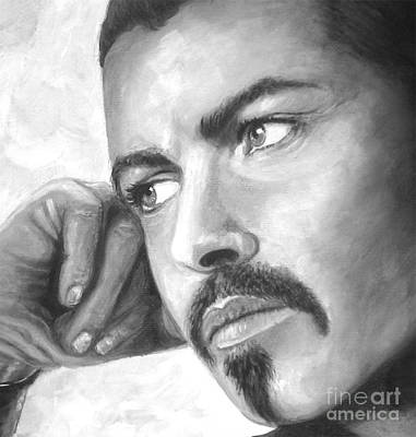 Painting -  Up Close George Michael  Black White by Patrice Torrillo