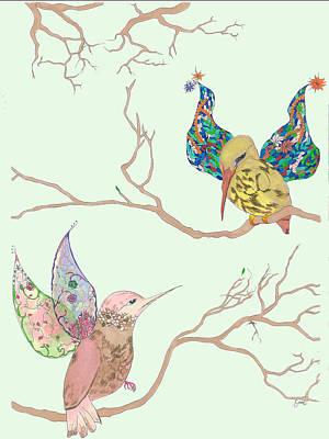 Lovebird Mixed Media - Up High by Emily Ailene