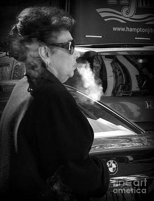 Photograph - Up In Smoke - Woman With Cigarette by Miriam Danar