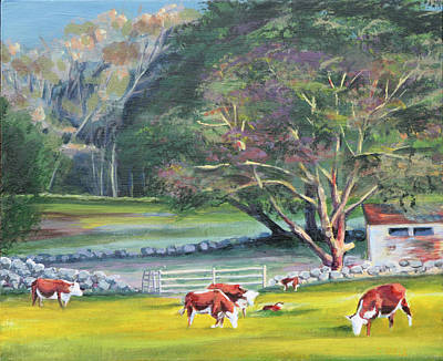 Painting - Up Island Cows by Trina Teele
