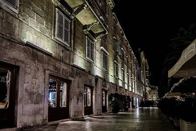 Up Lighting On A European Building At Night  Art Print