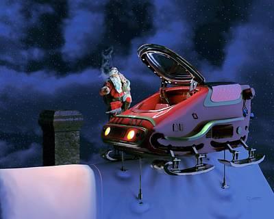 Digital Art - Up On The Housetop by Dave Luebbert