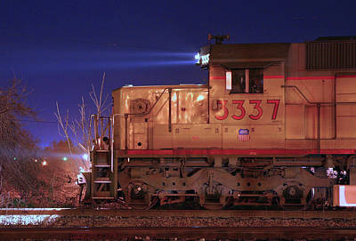 Photograph - Up Sd40-2 #3337 @ Night by Joseph C Hinson Photography