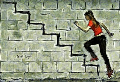 Tennis Shoes Painting - Up Stairs by Leonardo Digenio