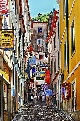 Cobblestone Streets Digital Art - Up The Hill - Sintra Portugal by Mary Machare