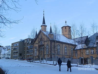 Snow Photograph - Up The Hill To Church by Margaret Brooks