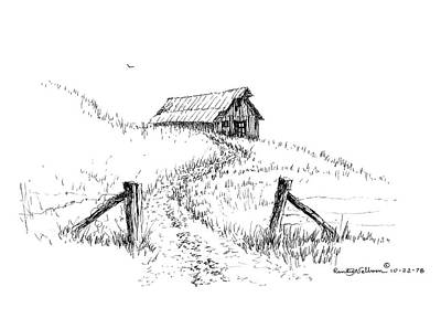 Drawing - Up The Hill To The Old Barn by Randy Welborn
