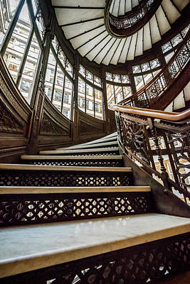 Photograph - Up The Rookery Building Winding Staircase by Anthony Doudt