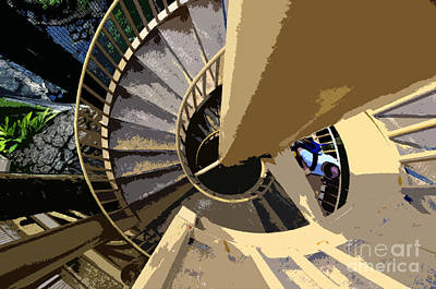 Staircase Painting - Up The Spiral Staircase by David Lee Thompson