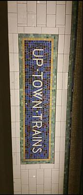 Nyc Subway Mosaic Photograph - Up Town Trains by Rodney Rahl
