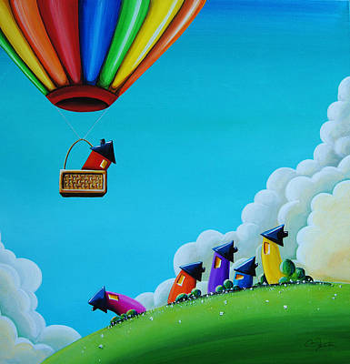 Hot Air Balloon Painting - Up Up And Away by Cindy Thornton