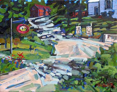 Rockport Painting - Uphill In Rockport by Phil Chadwick