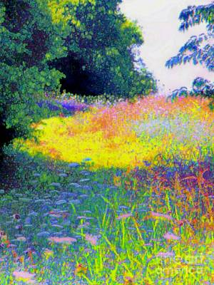 Uphill In The Meadow Art Print