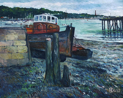 Painting - Upnor Pier Medway Kent England 2017 by Enver Larney