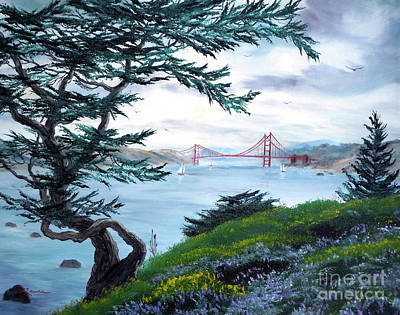 Golden Gate Painting - Upon Seeing The Golden Gate by Laura Iverson