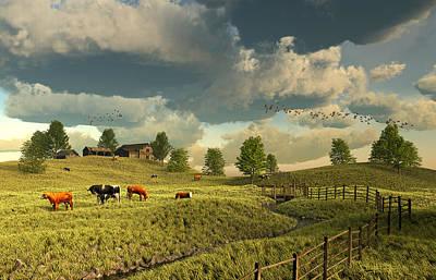 Digital Art - Upon The Rural Seas by Dieter Carlton