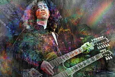 Jimmy Page Mixed Media - Upon Us All A Little Rain Must Fall by Mal Bray
