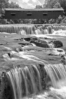 Photograph - Upper Cataract Falls Portrait View Black And White by Adam Jewell