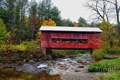 Photograph - Upper Cox Brook Covered Bridge In Northfield Vermont by T Lowry Wilson