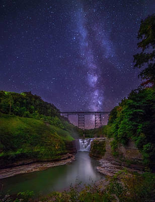 Photograph - Upper Falls At Night by Mark Papke
