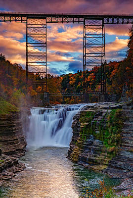 Fall Foliage New York Wall Art - Photograph - Upper Falls Letchworth State Park by Rick Berk