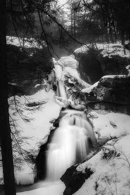 Photograph - Upper Kent Falls Black And White by Bill Wakeley