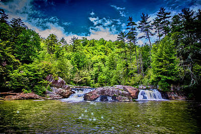 Digital Art - Upper Linville Falls In Spring by John Haldane