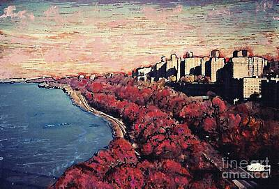Mixed Media - Upper Manhattan Along The Hudson River by Sarah Loft