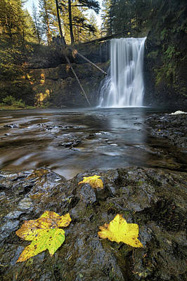 Upper North Falls In Autumn Art Print by David Gn