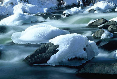 Upper Provo River In Winter Art Print by Dennis Hammer
