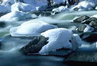 Upper Provo River In Winter Art Print by Dennis Hammer